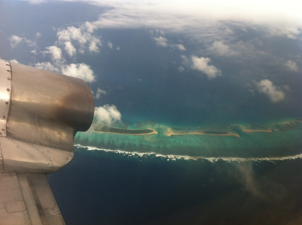 A drop in the ocean - flying over Tonga earlier this year.