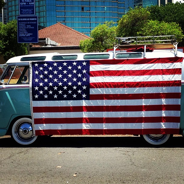 vw van us flag