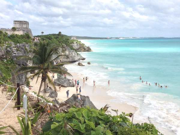 Swimming at Tulum ruins