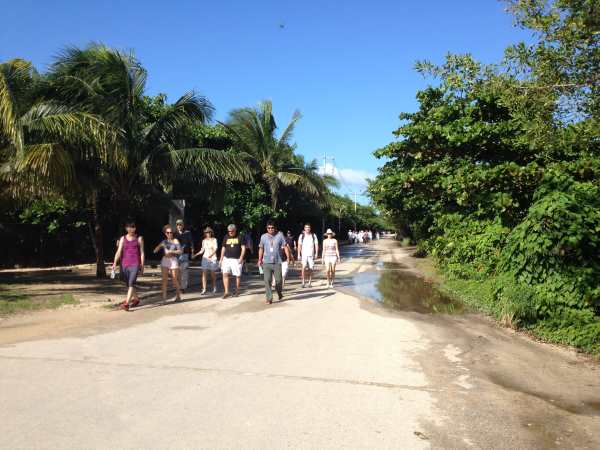 Walk to entrance Tulum entrance